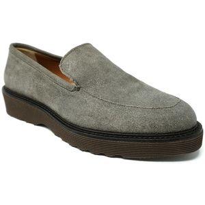 Aquatalia Kelsey Loafers Metallic Suede Gray